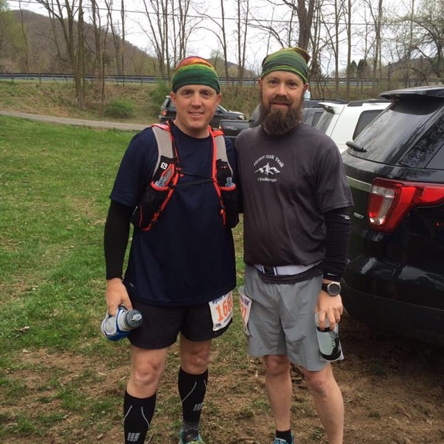 Good friend and farm supporter Jason Lang and I just before we start the Hyner View Trail Challenge 50K.